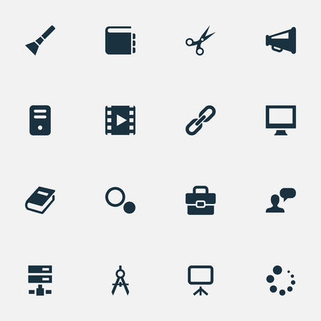 Vector Illustration Set Of Simple Icons Icons. Elements Circle Compass, Blueprint, Hand Lantern Synonyms Handbag, Chain And Hyperlink.