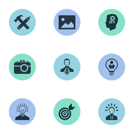 Vector Illustration Set Of Simple Visual Art Icons. Elements Pencil, Creative, Image And Other Synonyms Person, Microphone And Mind. Ilustrace
