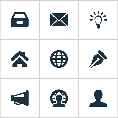 Illustration Set Of Simple Business Icons. Elements Lamp, Human, Home And Other Synonyms Human, Sign And Box.
