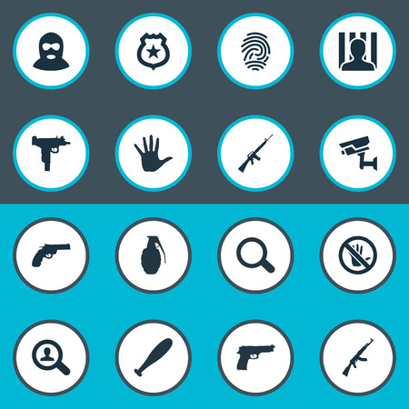 Set Of Simple Offense Icons. Elements Controlling System, Weapon, Investigation And Other Synonyms Explode, Human And Fingers.