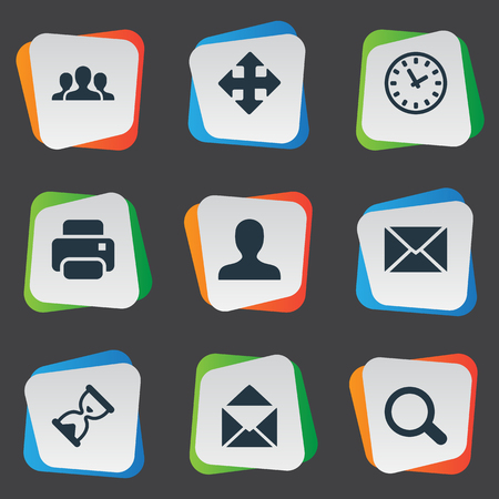 Simple Apps Icons. Elements Watch, Envelope, Magnifier And Other Synonyms Enlarge, Human And User.
