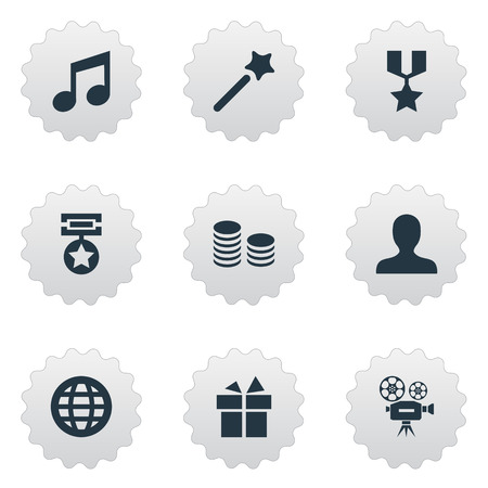 Illustration Set Of Simple Achievement Icons. Elements World, Currency, Present And Other Synonyms Profile, Champion And Earth.