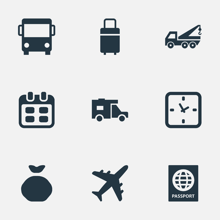 Illustration Set Of Simple Carting Icons. Elements Trip Luggage, Minutes, Eviction Vehicle And Other Synonyms Eviction, Holdall And Agenda.
