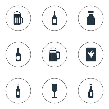 飲み物アイコンのイラスト。要素酒、つる、ビールおよび他の類義語のパブのフルーツとシャンパン。
