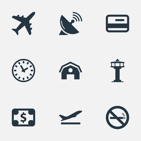 Ilustración Conjunto de iconos de viaje simple. Elementos de la tarjeta de crédito, despegue, avión y otros sinónimos de despegue, torre y satélite. Foto de archivo - 75578975