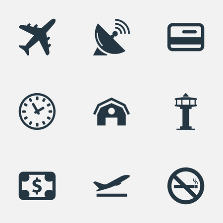 Illustration Set Of Simple Travel Icons. Elements Credit Card, Takeoff, Plane And Other Synonyms Takeoff, Tower And Satelite.