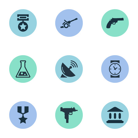 Illustration Set Of Simple Army Icons. Elements Watch, Chemistry, Firearm And Other Synonyms Government, Revolver And Clock. Ilustração