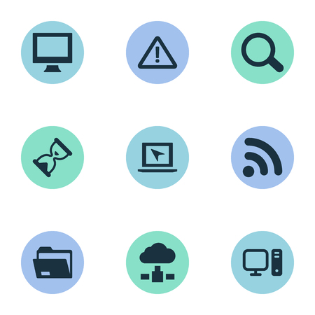 Illustration Set Of Simple Laptop Icons. Elements Computer, Dossier, Cursor And Other Synonyms Signal, Wave And Seek.