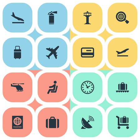 Illustration Set Of Simple Travel Icons. Elements Certificate Of Citizenship, Travel Bag, Plane And Other Synonyms Protection, Satelite And Conveyor.