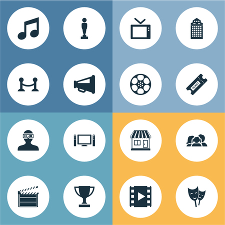 Illustration Set Of Simple Movie Icons. Elements Rope Barrier, Action, Television And Other Synonyms Music, Fence And Note. Illustration