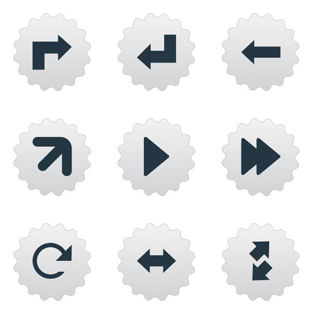 reverse: A Vector Illustration Set Of Simple Indicator Icons. Elements Reverse , Right Leading Arrow , Right Landmark Synonyms Left, Raising And Refresh.