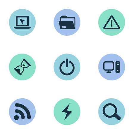 Illustration Set Of Simple Computer Icons. Elements Dossier, Magnifier, Battery And Other Synonyms Folder, Warning And Site. Illustration