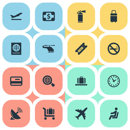 Illustration Set Of Simple Transportation Icons. Elements Travel Bag, Luggage Carousel, Global Research And Other Synonyms Warning, Baggage And Certificate.