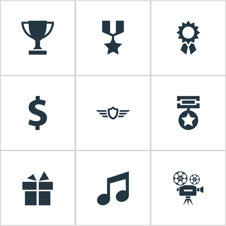 Illustration Set Of Simple Achievement Icons. Elements Melody, Guard, Present And Other Synonyms Dollar, Victory And Gift. Illustration
