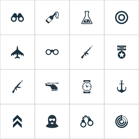 Illustration Set Of Simple War Icons. Elements Radio Locator, Molotov, Rifle Gun And Other Synonyms Chopper, Time And Insignia.