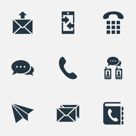 reverse: Illustration of a Contact Icons. Elements Aircraft, Telephone Switchboard, Posting And Other Synonyms Directory, Phone And Talking.