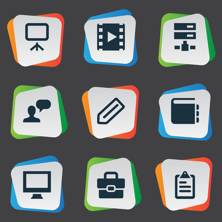 flayers: Vector Illustration Set Of Simple Icons Icons. Elements Tag, Blueprint, Display And Other Synonyms Plan, Inventory And Blueprint.