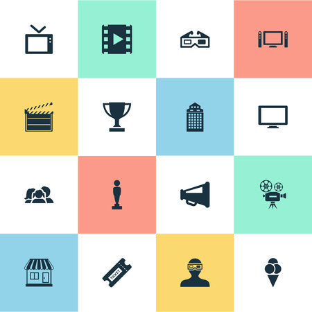 Vector Illustration Set Of Simple Movie Icons. Elements Grocery, Home Cinema, Spectator And Other Synonyms Camcorder, Video And Grocery. Illustration