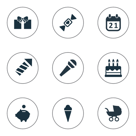 Ilustración vectorial Conjunto de iconos de vacaciones simple. Elementos Dinero Cerdo, Discurso, Saludo Y Otros Sinónimos Discurso, Fuego Artificial Y Caramelo. Foto de archivo - 75682963