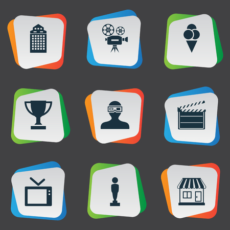Vector Illustration Set Of Simple Cinema Icons. Elements Grocery, Television, Trophy And Other Synonyms Man, Decoration And Montage.