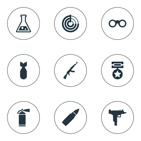 Vector Illustration Set Of Simple Army Icons. Elements Firearm, Extinguisher, Kalashnikov And Other Synonyms Ammunition, Scanner And Glasses. Ilustração