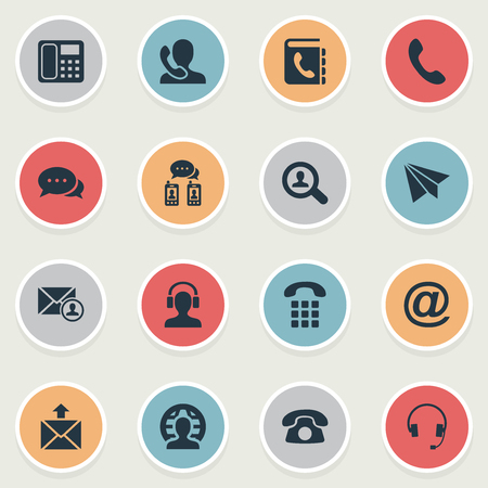 earpiece: Vector Illustration Set Of Simple Connect Icons. Elements House Phone, Dialogue, Telephone Directory And Other Synonyms Speaking, Job And Home. Illustration