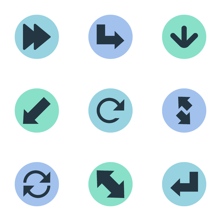 Vector Illustration Set Of Simple Pointer Icons. Elements Left-Down, Refresh, Pointer And Other Synonyms Recycle, Down Left Pointing And Down. 向量圖像