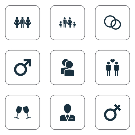 Vector Illustration Set Of Simple Couple Icons. Elements Friends, Gay, Barrister And Other Synonyms Lineage, Male And Alternative.