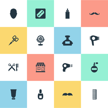 coiffeur: Vector Illustration Set Of Simple Barber Icons. Elements Container, Hackle, Scent And Other Synonyms Store, Clipper And Beard.