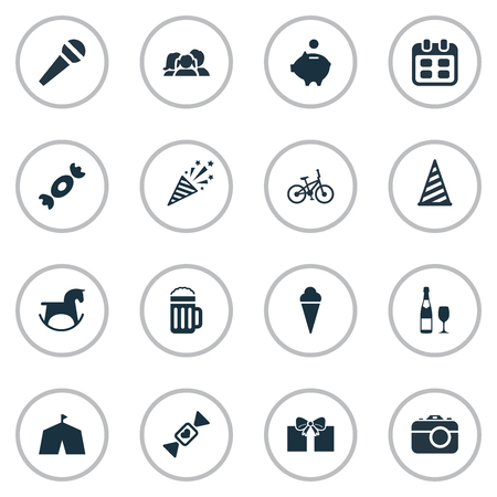 Vector Illustration Set Of Simple Holiday Icons. Elements Firecracker, Speech, Camera And Other Synonyms Schedule, Bicycle And Toy. Illustration
