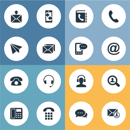 reverse: Vector Illustration Set Of Simple Contact Icons. Elements Correspondence, House Phone, Earphone And Other Synonyms Search, Cellular And Sign. Illustration