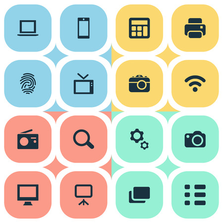 Vector Illustration Set Of Simple Hardware Icons. Elements Smartphone, Tuner, Photocopier And Other Synonyms Projector, Reflex And Thumbprint.