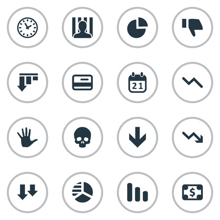 Vector Illustration Set Of Simple Trouble Icons. Elements Bankroll, Agenda, Down Cursor And Other Synonyms Dollar, Round And Time. Illustration