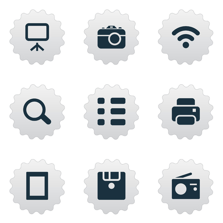 Vector Illustration Set Of Simple Technology Icons. Elements Photographing, Wireless Connection, Schedule And Other Synonyms Camera, Wifi And Reflex.