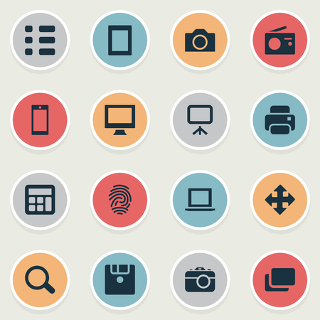 Vector Illustration Set Of Simple Device Icons. Elements Layout, Adding Device, Touch Computer And Other Synonyms Radio, Touch And Move. Illustration