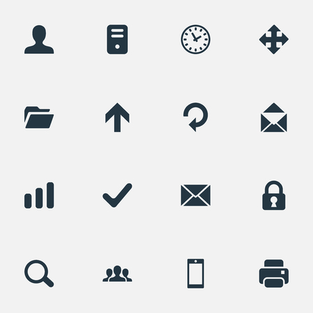 Vector Illustration Set Of Simple Apps Icons. Elements User, Community, Upward Direction And Other Synonyms Extend, Printer And Open. 向量圖像