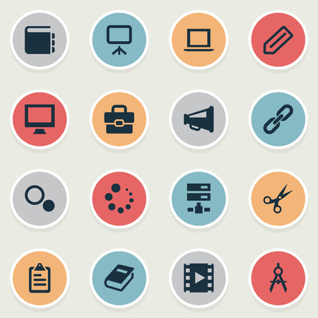 Vector Illustration Set Of Simple Icons Icons. Elements List, Bullhorn, Settings And Other Synonyms Compass, Catalog And Handbag. Illustration