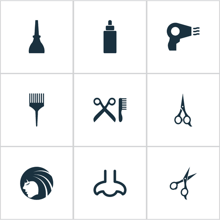 Vector Illustration Set Of Simple Beauty Icons. Elements Barbershop, Scissors, Serum And Other Synonyms Hairdresser, Comb And Bottle.
