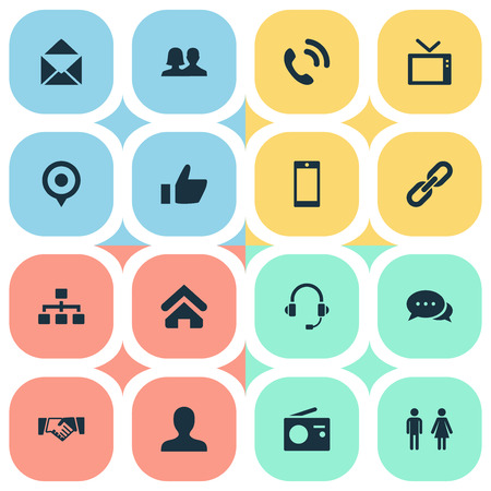 Vector Illustration Set Of Simple Network Icons. Elements Structure, Partner, House Location And Other Synonyms Smartphone, Chain And Staff.