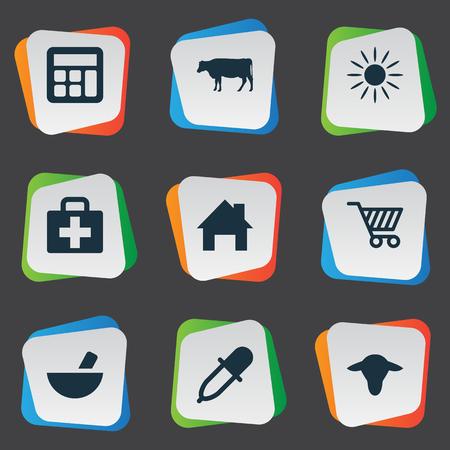 insolación: Ilustración vectorial Conjunto de iconos de agricultura simple. Elementos Medicamento, Calculadora, Kit Médico Y Otros Sinónimos Pequeños, Insolación Y Local.