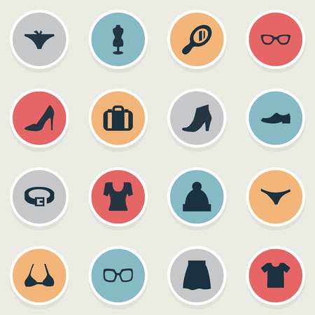 Vector Illustration Set Of Simple Clothes Icons. Elements Brasserie, Glasses, Panties And Other Synonyms Breast, Male And Bra.