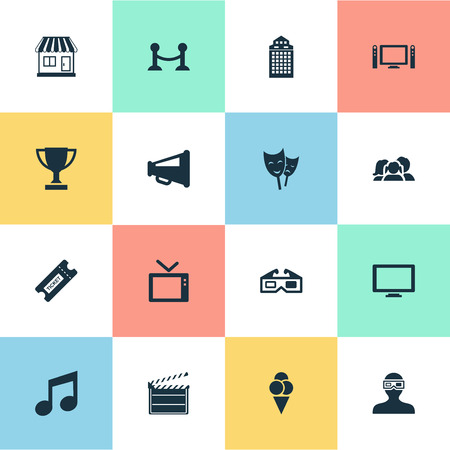 hdtv: Vector Illustration Set Of Simple Movie Icons. Elements Structure, Spectator, Grocery And Other Synonyms Montage, Loudspeaker And Megaphone.