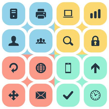 Vector illustratie Set van eenvoudige Apps iconen. Elementen opwaartse richting, bericht, statistieken en andere synoniemen Pijl, gebruiker en smartphone.