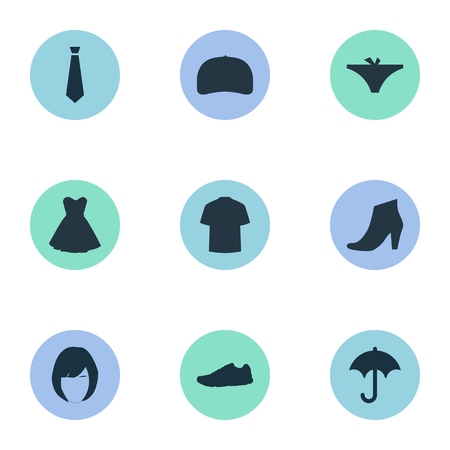 brolly: Vector Illustration Set Of Simple Clothes Icons. Elements Panties, Man Clothing, Brolly And Other Synonyms Hairdressing, Tie And Panties.