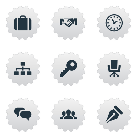 Vector Illustration Set Of Simple Business Icons. Elements Chatting, Partnership, Nib And Other Synonyms Chatting, Pen And Conversation. Illustration