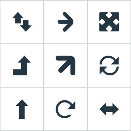 Vector Illustration Set Of Simple Indicator Icons. Elements Reverse, Circular, Crossed Arrows And Other Synonyms Recycle, Up And Direction.