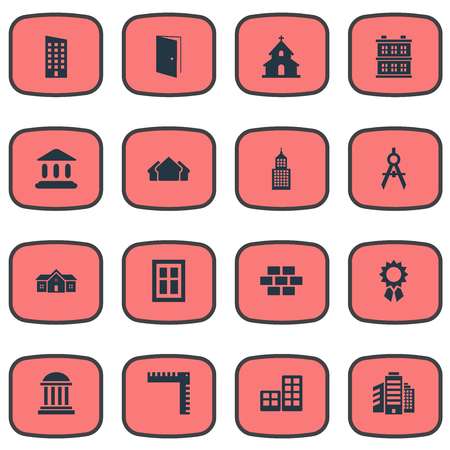 Vector Illustration Set Of Simple Architecture Icons. Elements Superstructure, Reward, Block And Other Synonyms Shelter, Compass And Three.