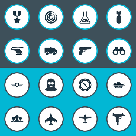 Vector Illustration Set Of Simple War Icons. Elements Helicopter, Chemistry, Heavy Weapon And Other Synonyms Emblem, Military And Spyglass.