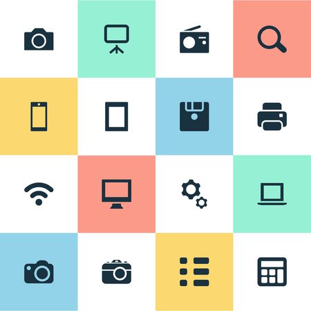 Vector Illustration Set Of Simple Gadget Icons. Elements Camcorder, Save, Photographing And Other Synonyms Projector, Photographing And Board.