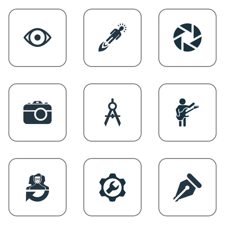 Vector Illustration Set Of Simple Creative Thinking Icons. Elements Entrepreneur, Writing Tool, Contemplation And Other Synonyms Equipment, Gear And Wrench.